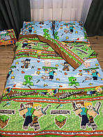 """Детское и подростковое полуторное постельное белье """"Майнкрафт"""" для мальчика."""