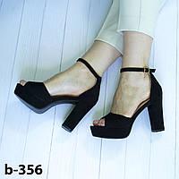 Босоножки женские черные на платформе и устойчивом каблуке с закрытой пяткой и открытым носком эко замша