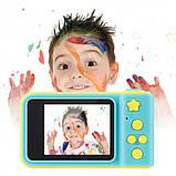 Детский цифровой фотоаппарат фотокамера Smart Kids Camera V7 желто-голубой, фото 3