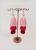 Нарядные серьги кисти, вечерние сережки, шелковая нить, цвет розовый омбре