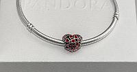 Бусина шарм серебро Сердце подвеска красная для браслета Pandora Пандора серебряная, фото 1