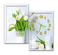 Красивая Модульная картина с часами Белые тюльпаны 30х50 30х50 см
