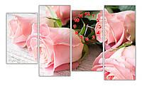 Большая Модульная картина с часами Розовые розы 30х50 30х70 30х60 30х74 см