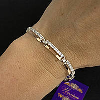 """Шикарный женский серебряный браслет с золотыми вставками (пластинами) """"Ультра"""" с фианитами, фото 2"""