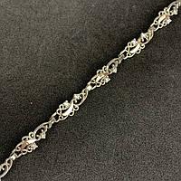 """Шикарный женский серебряный браслет с золотыми вставками (пластинами) """"Ася"""""""