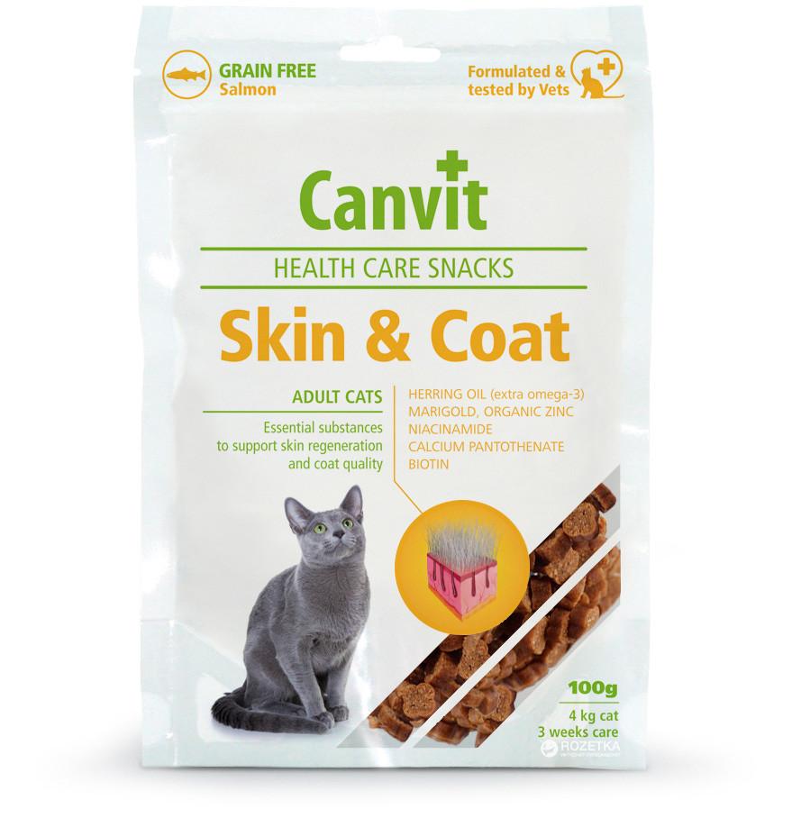 СКИН и КОАТ CANVIT SКIN & COAT полувлажное витаминное лакомство для кожи шерсти когтей котов, 100 гр