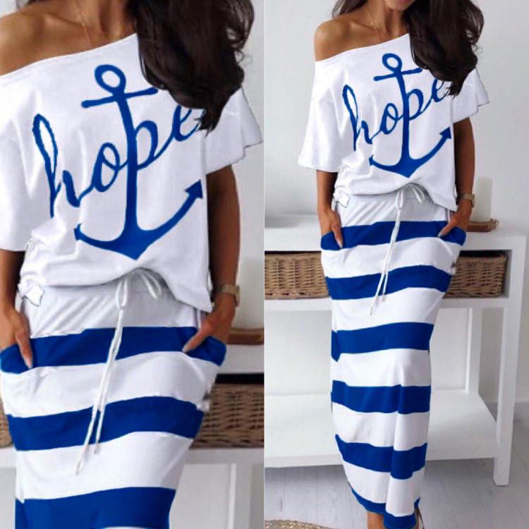 Костюм летний юбочный женский стиль морской футболка и длинная юбка с карманами электрик
