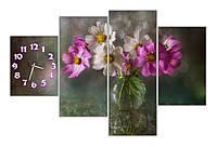 Большая Модульная картина с часами Букет красивых космей 30х38 30х64 30х81 30х50 см