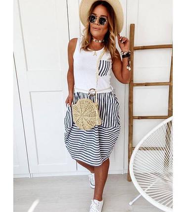 Платье летнее пляжное в полоску Вискоза, джинс-коттон, фото 2