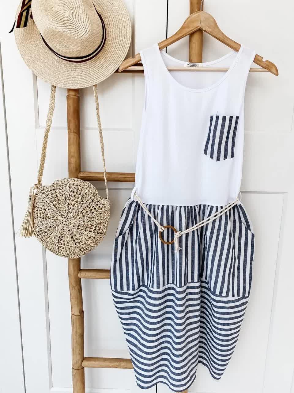 Платье летнее пляжное в полоску Вискоза, джинс-коттон