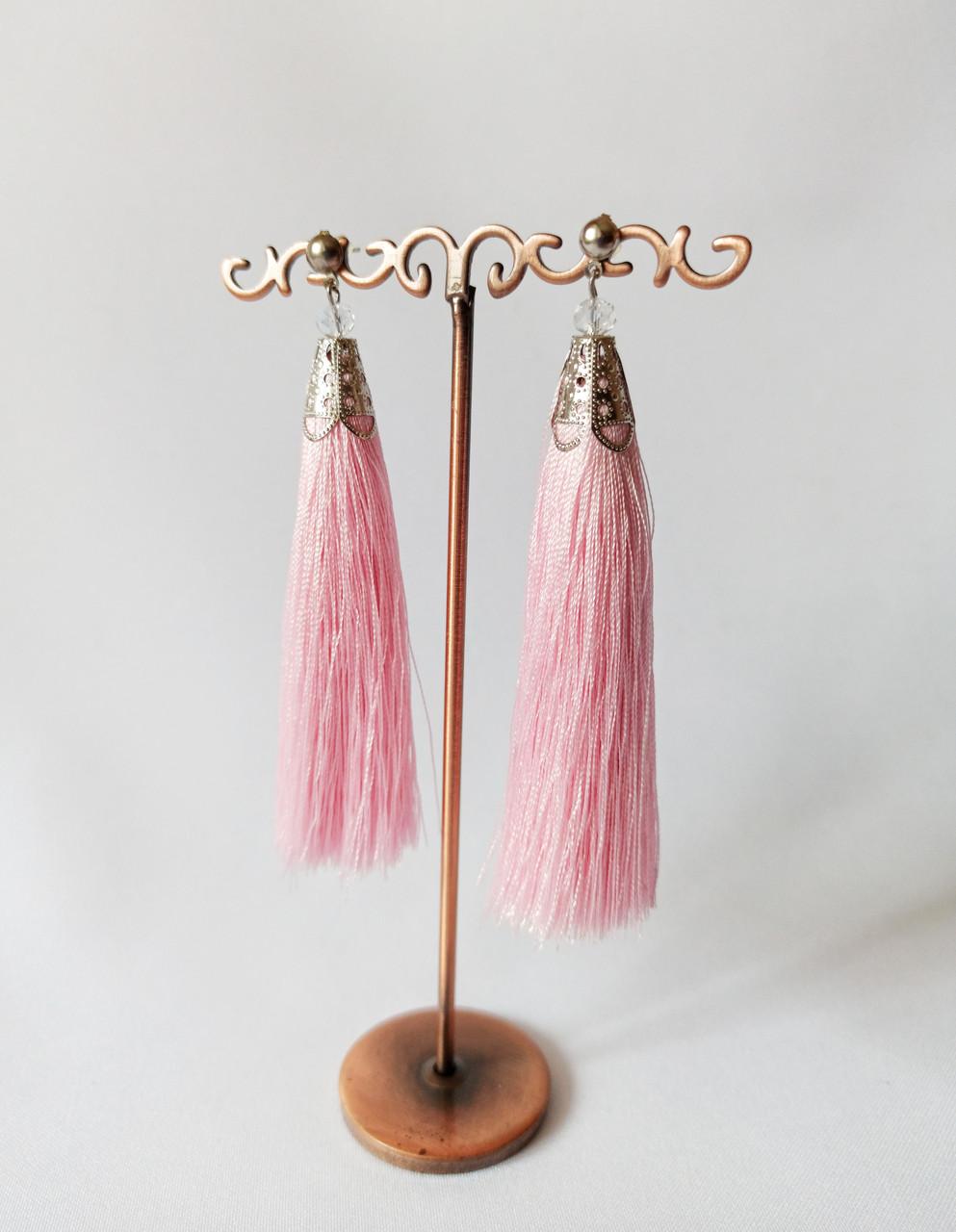 Летние серьги кисти, вечерние сережки, шелковая нить, цвет розовый