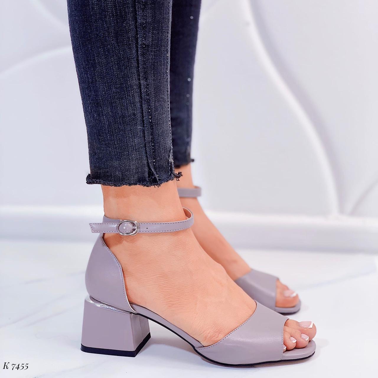 Босоножки женские серые эко кожа на каблуке 4 см