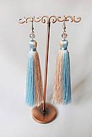 Летние серьги кисти, шелковая нить, цвет беж + голубой, подарок подруге