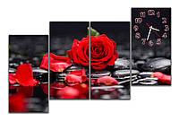 Большая Модульная картина с часами Красная роза на камнях у воды 30х60 30х60 30х60 30х60 см