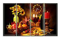 Большая Модульная картина с часами Красивый натюрморт 30х76 30х76 30х76 30х76 см