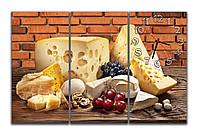 Красивая Модульная картина с часами Натюрморт с сыром 30х60 30х60 30х60 см