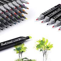 Набор двусторонних маркеров Touch 48 штук  для рисования и скетчинга на спиртовой основе