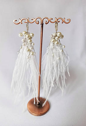 Свадебные серьги кисти, сережки для невесты, серьги перья, цвет белый, фото 2