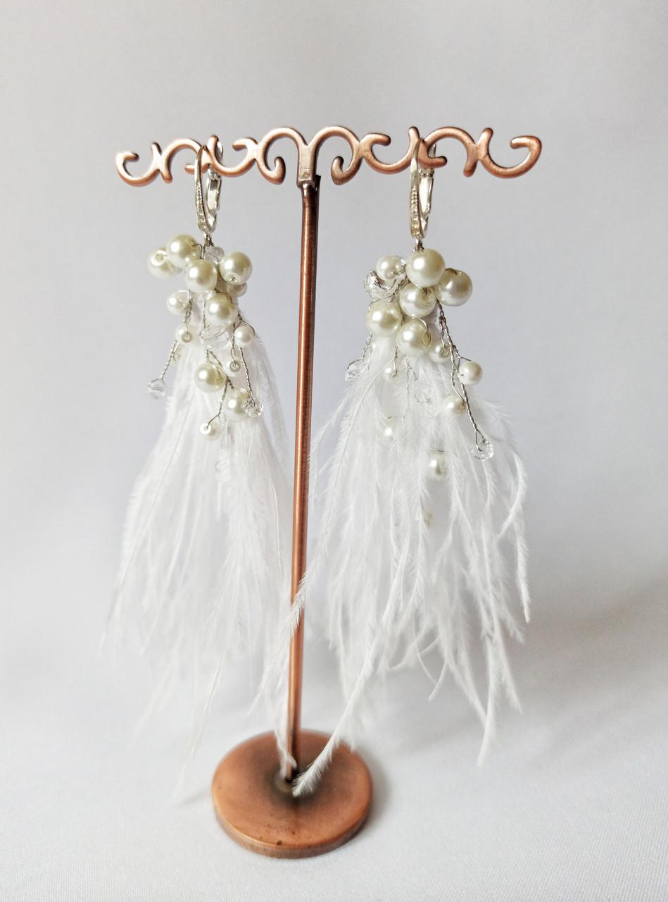 Свадебные серьги кисти, сережки для невесты, серьги перья, цвет белый