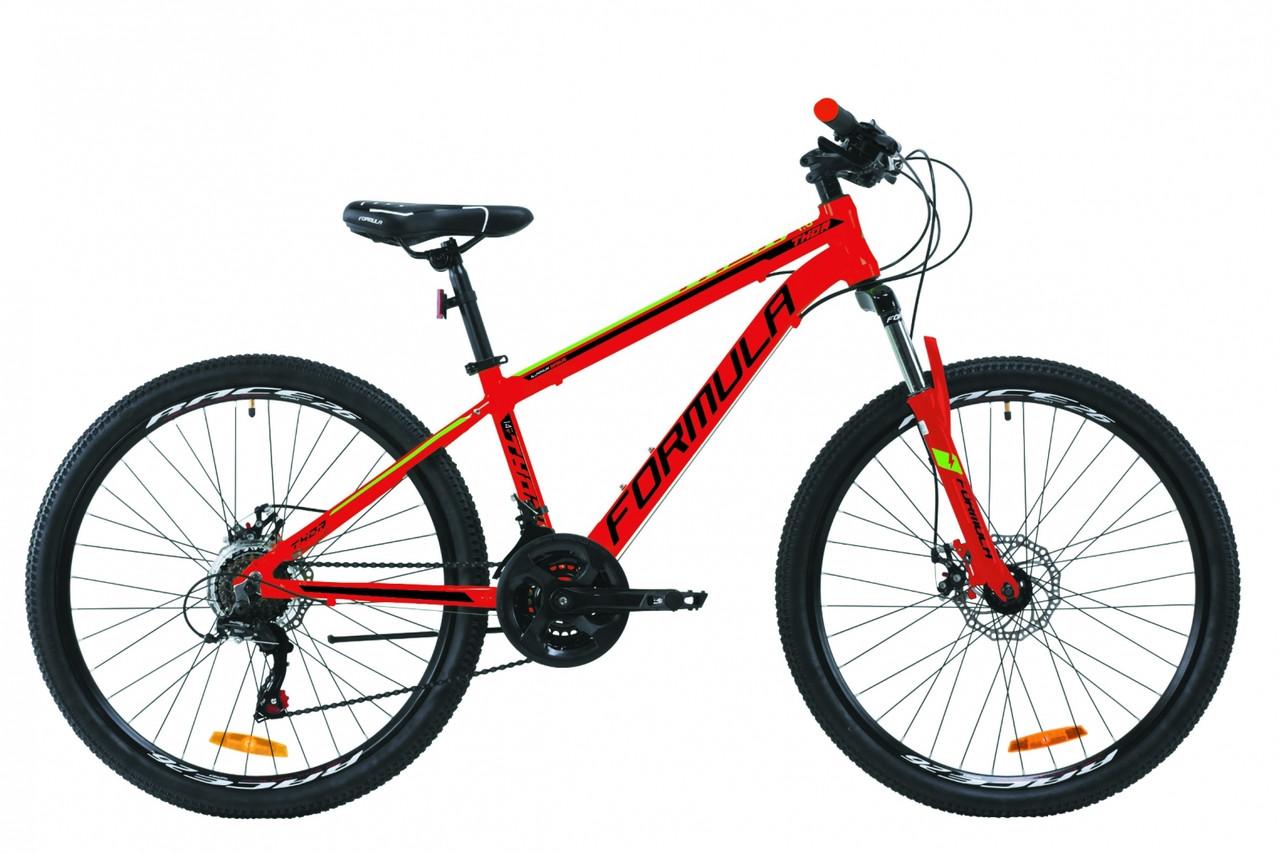"""Велосипед подростковый горный 26"""" Formula Thor 1.0 2020 алюминиевая рама 14"""", красно-черный с зеленым"""