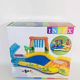 Надувной басейн 249х191х109 см, с горкой для спуска, фонтаном и шариками. Intex 57444, фото 2