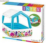 Детский надувной бассейн 157х157х122 с ручным насосом и подстилкой Intex 57470, фото 4