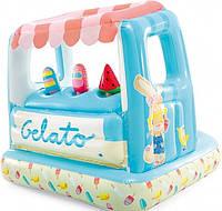 """Надувной детский игровой центр-бассейн Intex 48672 """"Мороженое"""", 127 x 102 x 99 см, голубой"""