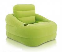 Надувное кресло Intex 68586 Accent Chair классическое флокированное (107х97х71 см), зеленое