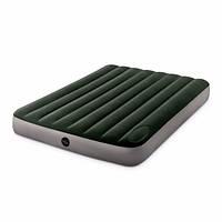 Полуторный качественный пляжный надувной матрас Intex 64762 (137 x 191 x 25 см) + встроенный ножной насос