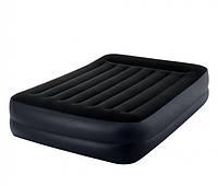Двухспальная надувная кровать Intex 64124 Pillow Rest Raised Bed, со встроенным электронасосом и сумкой для хранения (152x203x42 см) Черная