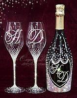 Свадебные бокалы с инициалами в стразах (уточняйте сроки, цена указана за 1 бокал) ВІШ-30, фото 1