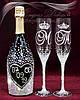Свадебные бокалы с инициалами и коронами в стразах (уточняйте сроки) СІШК-20