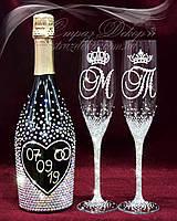 Свадебные бокалы с инициалами и коронами в стразах (уточняйте сроки) СІШК-20, фото 1