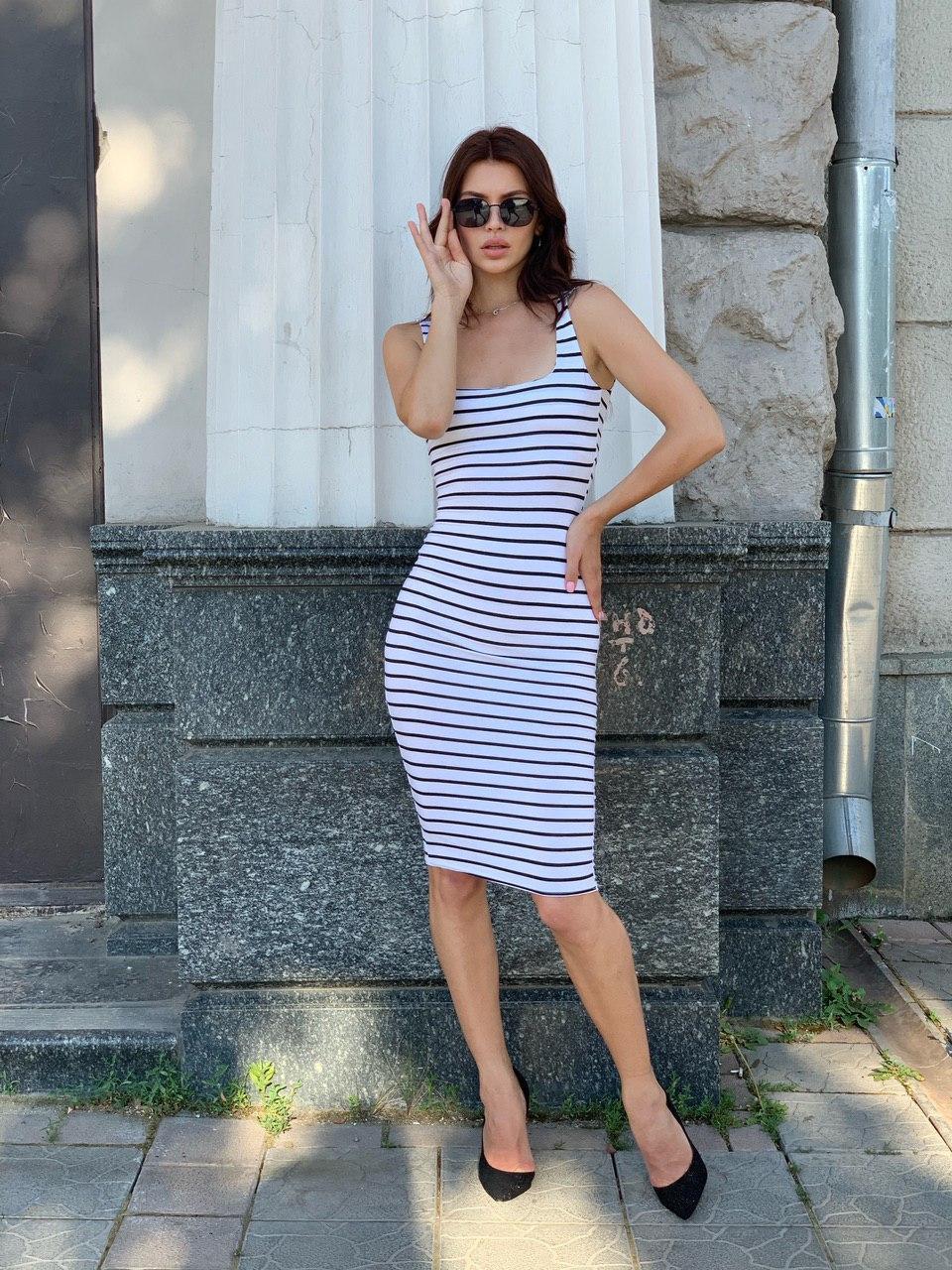 Обтягивающее платье-майка в полоску