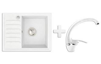 Кухонная мойка VALENTINA Gr Master белый + Кран