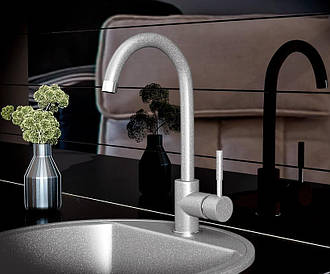 Смеситель кухонный гранитный KAHER IMPERIAL 04 серый
