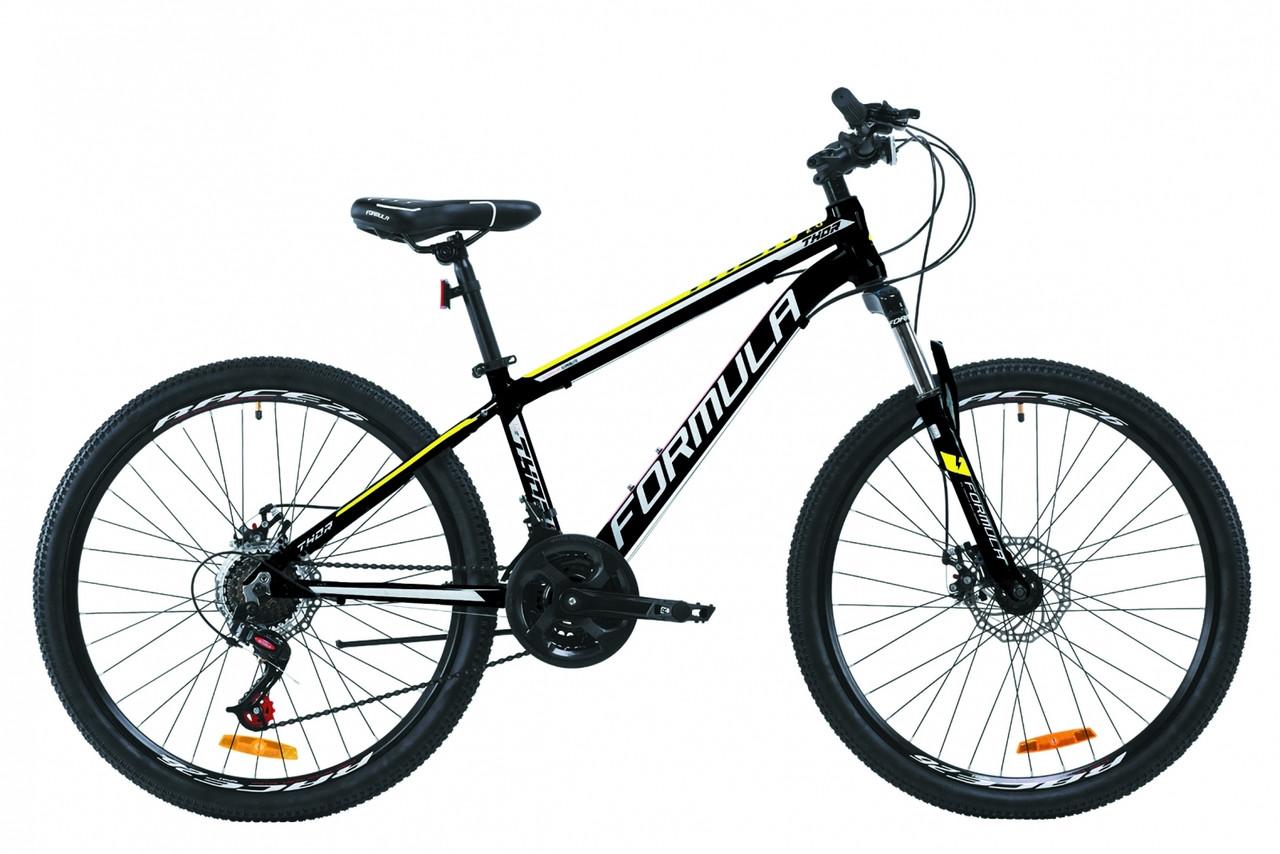 """Велосипед подростковый горный 26"""" Formula Thor 2.0 2020 алюминиевая рама черно-белый с желтым"""