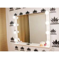 Зеркало для парикмахера, с рамой в белом цвете