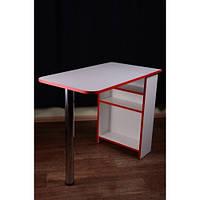 Стол для маникюра, раскладной, белый с красной кромкой