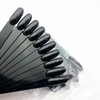 Типсы черные миндаль, на кольце 50 шт, для дизайна, палитра, для лаков, гель лаков, овал