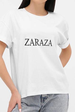 Жіноча біла футболка зі спущеним рукавом і написом ZARAZA 46, фото 2
