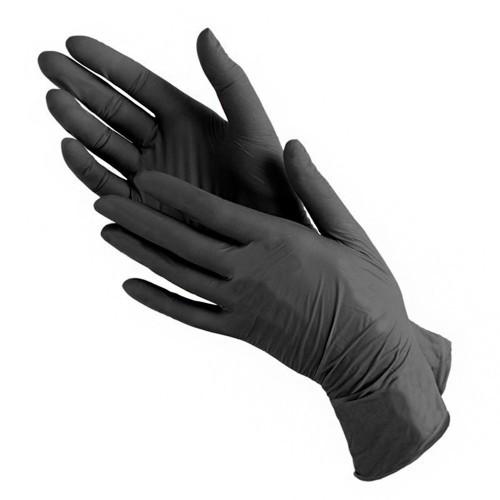 Повышенной прочности Нитриловые Чёрные перчатки без пудры размер S 100 шт,MDC1187-B