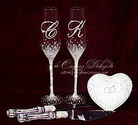 Свадебные бокалы с инициалами в стразах (уточняйте сроки, цена указана за 1 бокал) ТІШ-51, фото 1
