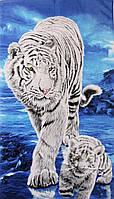 Пляжное полотенце Белый тигр с тигренком