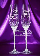 Свадебные бокалы с инициалами в стразах (уточняйте сроки, цена указана за 1 бокал) ТІШ-52, фото 1