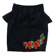 Школьная юбка с баской и вышивкой для девочки, 152см