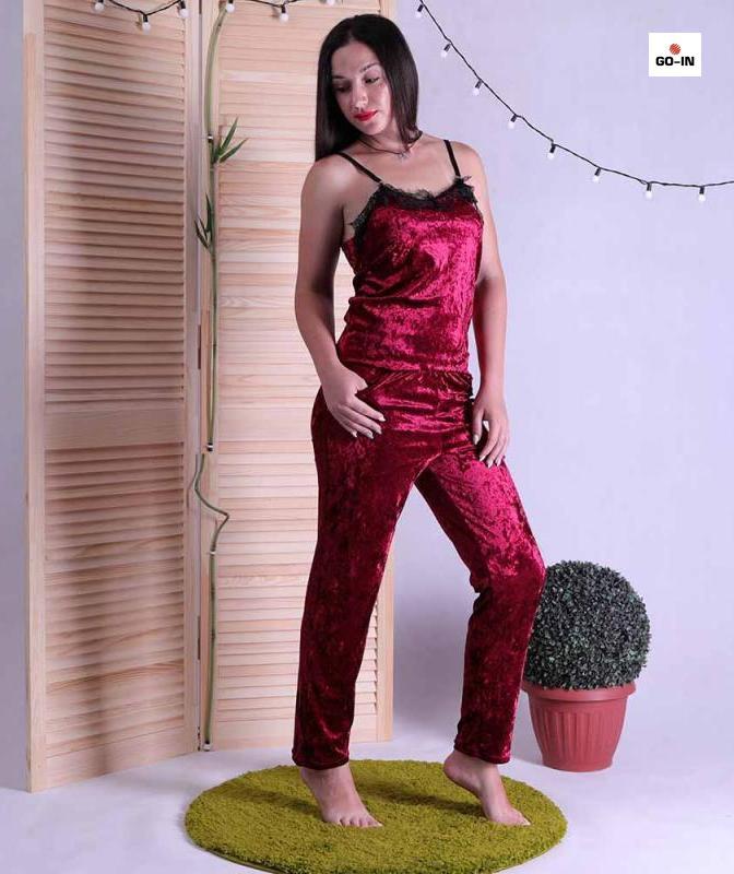 Пижама велюровая женская топ со штанами бордовая с кружевом 42-50р.