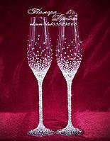 Свадебные бокалы со стразами Сваровски (уточняйте сроки, цена указана за 1 бокал) ТХ-23