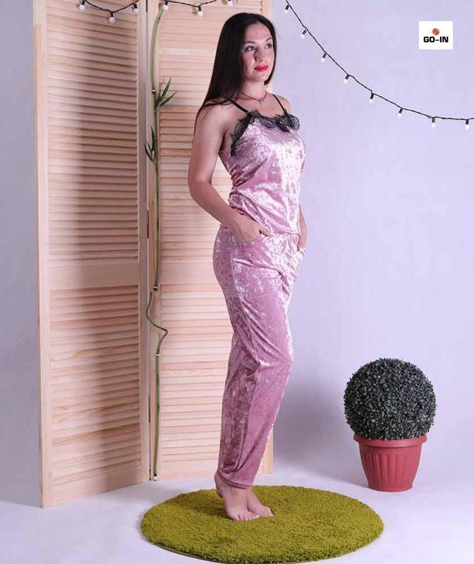 Піжама велюрова жіночий топ з штанами рожева з мереживом 42-50р.