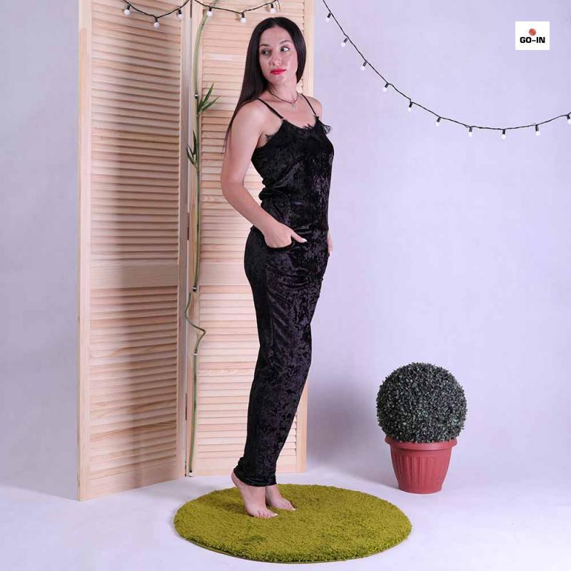 Піжама велюрова жіноча чорна топ зі штанами з мереживом 42-50р.